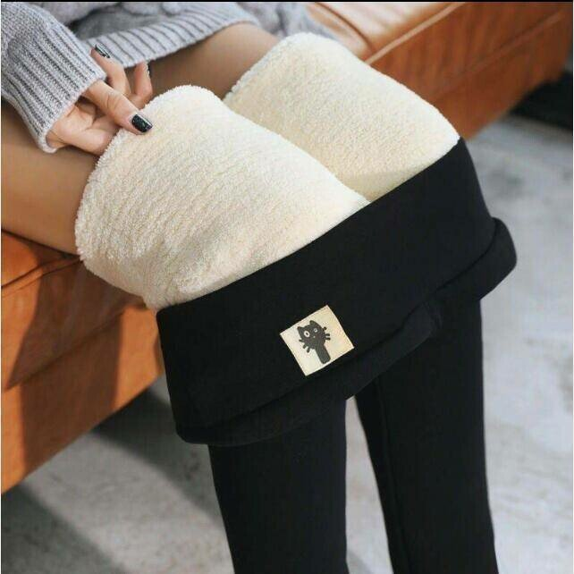 Winter Thickened Warm Fleece Lined High Waist Leggings - Black