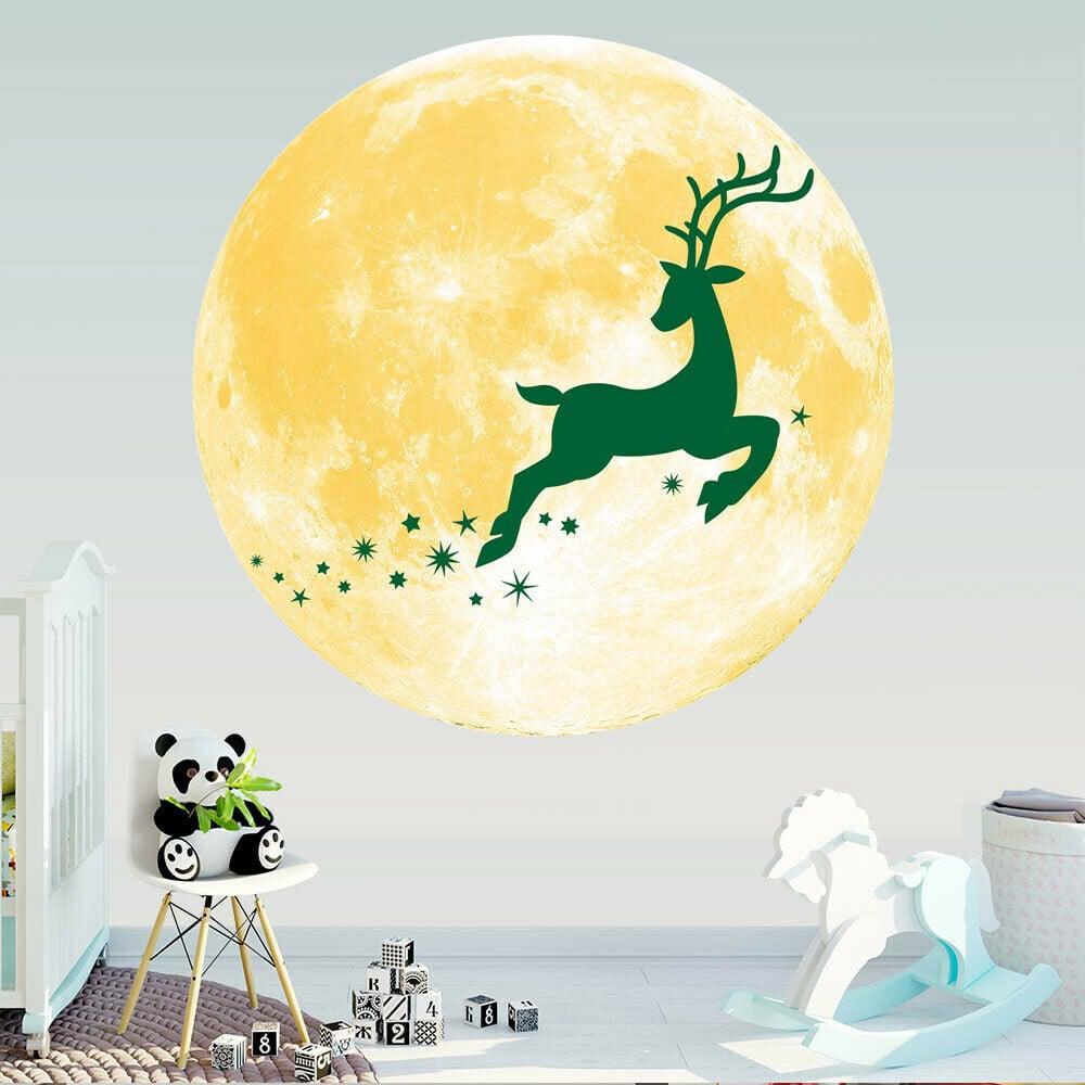 ❤SU/&YU❤Luminous Stars Yellow Moon Stereo Wall Stickers Christmas Creative Gifts