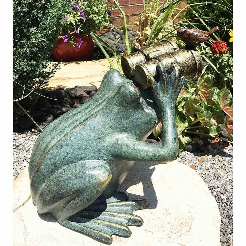 Curious Frog Garden Statue Holding Binoculars With A Bluebird