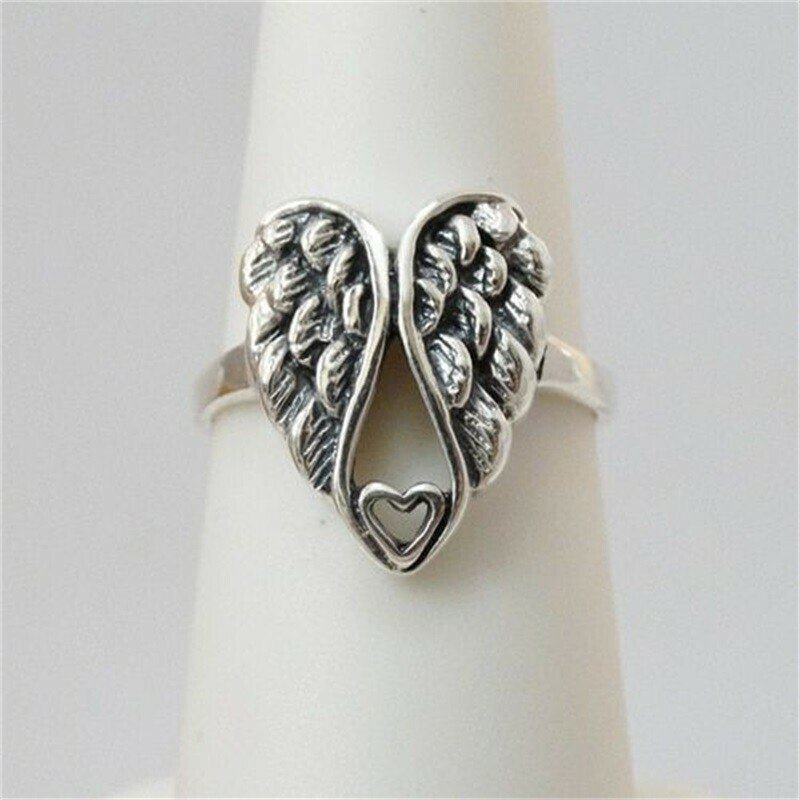 Solid 925 Sterling Silver Angel Wings With Heart Ring Gift Boxed